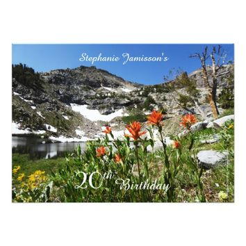 20th Birthday Invitation, Mountains, Wildflowers Card