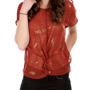 RUST GOLD FEATHER PRINTED CHIFFON SLIT OPEN SHOULDER TOP WITH TWISTED FRONT