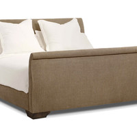 Laurent Burlap Sleigh Bed, Taupe, Sleigh Beds