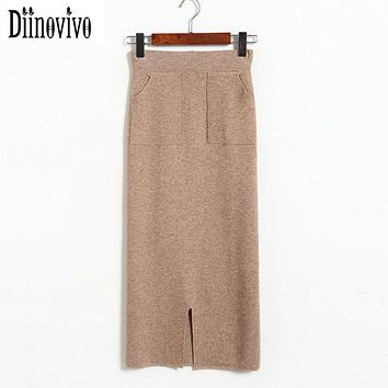 2017 New Autumn Winter Women knitting Skirts Elastic High Waist Pencil Skirt Fashion Split pockets design Long Skirts Saia D147