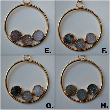 CIRCLE Of LIFE /// Druzy Hoop Necklace /// 24kt Gold Electroformed Pendant