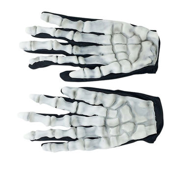 1 pair Halloween Skull Bone Silicon Rubber Skeleton Goth Racing Full Finger Gloves carnival dress up Halloween supply