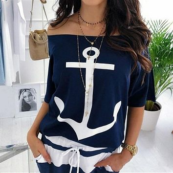 Lipswag Women Sexy Off Shoulder Blouses Summer Slash Neck Batwing Sleeve Blouses shirt Casual Loose print White Blusa Tops 5XL