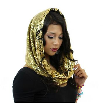 Gold Dust Burning Man Hood| Stardust Love Cosmic Hood | Disco Scarf