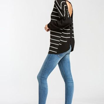 Striped Balloon Sleeve Top - Black