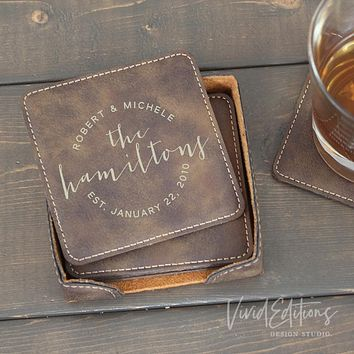 Square Personalized Leather Coaster Set of 6 - Rustic CB02
