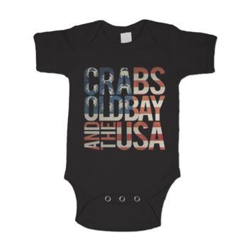 Crabs, Old Bay, & The USA (Black) / Baby Onesuit