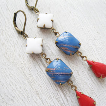 Red White and Blue Earrings, Retro Vintage Style Pin Up Patriotic Jewellery Long Dangles Summer Earrings Fourth of July Rockabilly