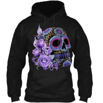Purple Floral Black Sugar Skull Day Of The Dead Pullover Hoodie 8 oz