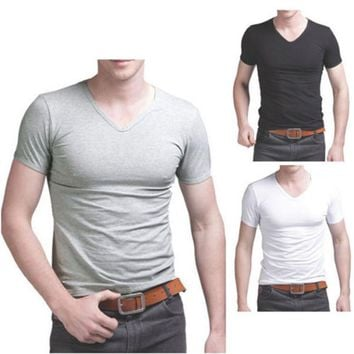 Men's Casual T-Shirt Classic Solid Tops V Neck Short Sleeve Cotton Singlets Preshrunk Casual Shirt Tops Tee