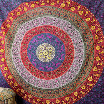 FLORAL MULTI COLOR Cotton Fabric Wall Mandala Tapestry Hippie Boho Bedspread Bedding Throw Ethnic Home Decor Art - FabricSarmaya