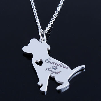 New Guardian Angel PitBull Charm Choker Chain Statement Necklace Jewelry Collier Femme Punny Bijoux Mujer Necklaces for Women