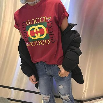 GUCCI Trending Women Loose Letter Print Short Sleeve Round Collar Tunic Shirt Top Blouse Burgundy I/A