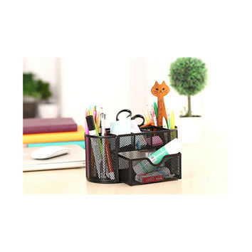 9 Slots Compartments Desk Organizer Pen Holder Rack Office Stationary  Black