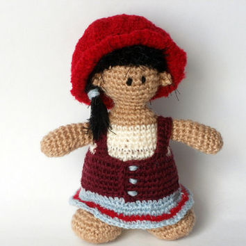 Handmade dolls Amigurumi toys Crochet dolls Red cap Red hat doll Crochet dolls and toys Childrens gifts and toys Doll in a red cap