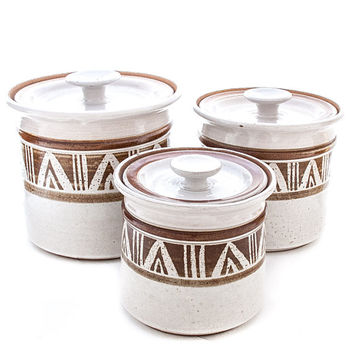 KITCHEN CANNISTER SET. Three Ceramic Hand Thrown Canisters with Lids. Abstract Pattern. Off-White and Brown. Signature on Bottom