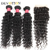 Devotion Hair Peruvian Deep Wave 3 Bundles With Lace Closure Human Hair Bundles with Closure Weave Bundles Non Remy Free Part