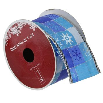 """Pack of 12 Squares of Blue Snowflake Wired Christmas Craft Ribbon Spools - 2.5"""" x 120 Yards Total"""