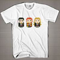 Harry Potter and Friends on Square  Mens and Women T-Shirt Available Color Black And White