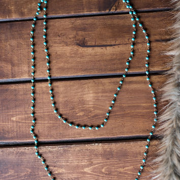 Sandbar Beaded Drop Necklace And Earring Set (Turquoise)