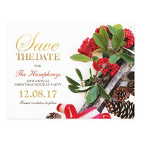 Red Gold Green Christmas Party Save the Date Postcard