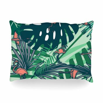 "bruxamagica ""Flamingo And Tropical Leaves"" Green Coral Animals Nature Illustration Digital Oblong Pillow"