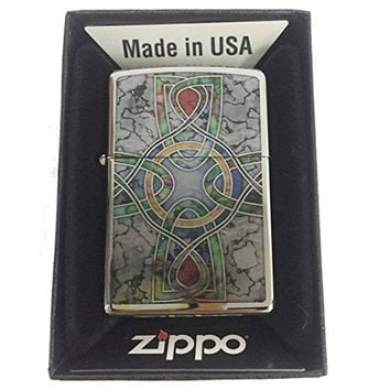 Zippo Custom Lighter - Celtic Irish Cross Knot Religious Spiritual Logo Fuzion - High Polish Chrome
