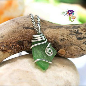 Green Sea Glass Necklace made in Hawaii by Mermaid Tears, Hawaiian Jewelry for beach brides