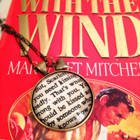 Gone with the Wind Scarlett and Rhett You need to be kissed Antiqued Bronze Book Page Necklace
