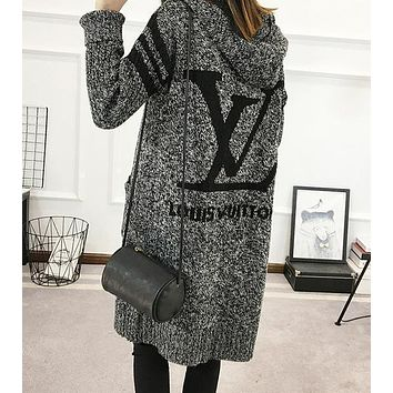 LV Louis Vuitton Women Hooded Sweater Knit Cardigan Jacket Coat