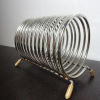 Vintage Silver Tone Metal Coil Rounded Wire Rack File Organizer/Mail Holder with Rubber Covered Feet