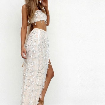 ‰ªÁ Off shoulder sequin tassel dress side split maxi ‰ªÁ