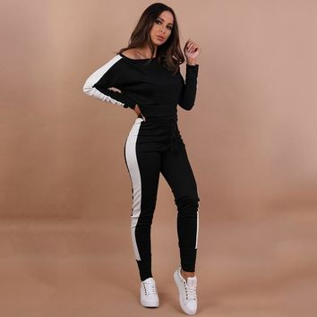 DeRuiLaDy 2018 Women Sexy 2 Piece Set Top And Pants Casual Stitching Off The Shoulder Crop Top And Pants Set Two Piece Set