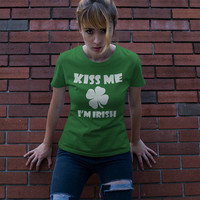 St Patricks Day Shirt Women, Kiss me Im Irish T-shirt, Funny St Patricks Day Shirt, Shamrock, Leprachaun Tee, Women Shirt,  Drinking, Clover