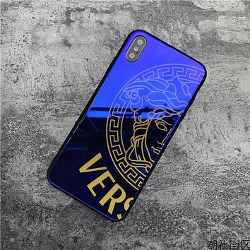 Blue VERSACE Mirror Case For iPhone 6 6s 6plus 6s-plus 7 7plus iphone 8 iphone X XS Max XR