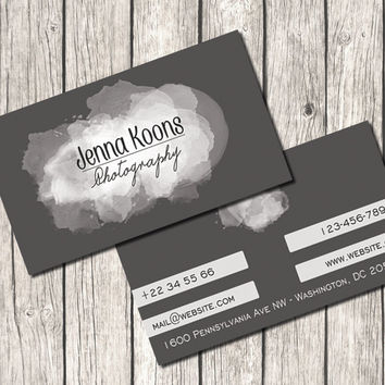 Premade Business Card Template - Watercolor Splashes, Grey Background, Photography, Photographer