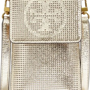 Tory Burch Perforated Metallic Leather Smartphone Crossbody Bag | Nordstrom