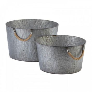 Set Of 2 Galvanized Textured Planter Buckets