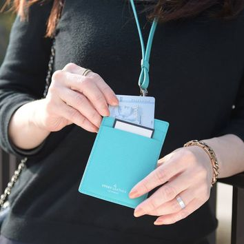 Herald Genuine Leather Badge, Access Card, and ID Card Holder with Lanyard in Turquoise / Teal