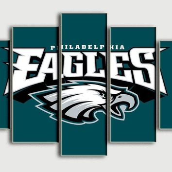 Cheap new 5 panel HD printed oil painting Philadelphia Eagles canvas print art home decor wall art picture for living room F0112