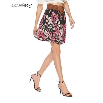 LOSSKY 2017 Summer New Women Floral Chiffon Leather Straps Pleated Skirt Feminine Vintage Lace-up Empire Waist Short Skirt Size