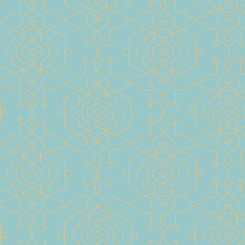 Sample of Aviva Wallpaper in Turquoise and Gold design by Candice Olson