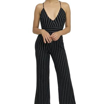 Pinstripe Cutout Back Summer Time Jumpsuit