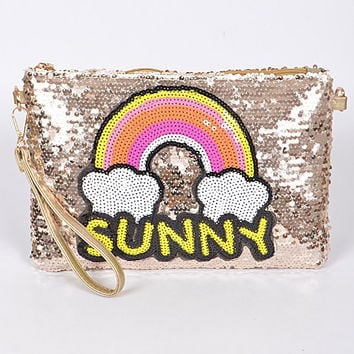 Sequin Rainbow Gold Clutch Purse