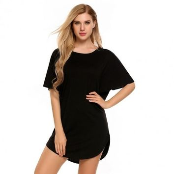 O-Neck Batwing Short Sleeve Solid Circle Hem Mini Dress