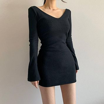 Winter Women Simple Solid Color Long Sleeve V-Neck Bodycon Mini Dress