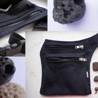 Black Canvas Hip Bag, Casual Belt Bag, Urban Hip Pouch, Festival Belt Purse, Free Hands Style
