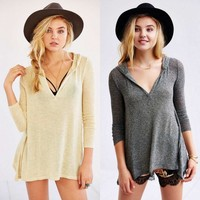 Knit Slim Irregular Long Sleeve Hats T-shirts Bottoming Shirt [11132248071]