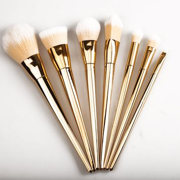 Fast Shipping 7 Pac 3 Color Aluminum Tube Makeup Brush Set Blush Brush Eye Shadow Brush Beauty Tool Set No Original Box