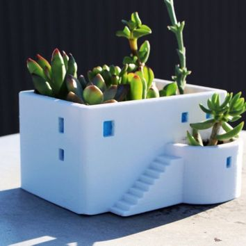 Greek House House Planter, Graduation Gift, 3D printed, Miniature, Cute, Office Decor, Home Decor, Succulent,Flower Pot, Dorm Decor